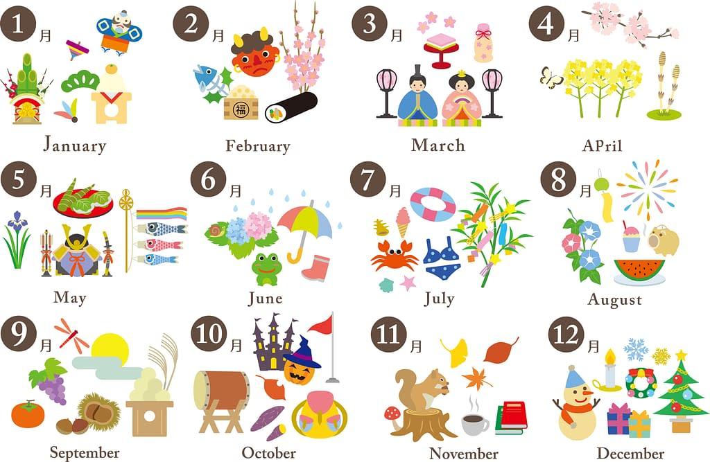 12 months Japanese holidays